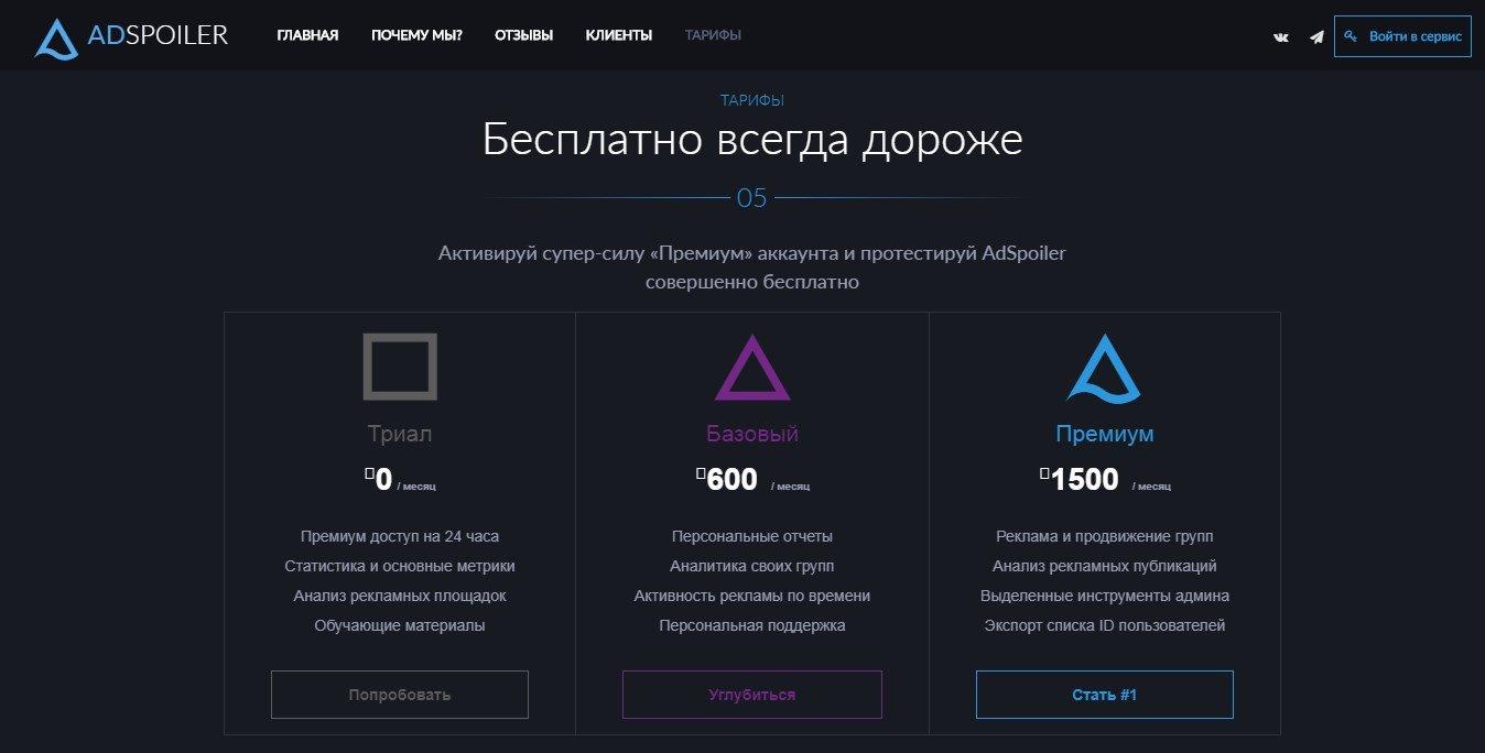 AdSpoiler тарифы
