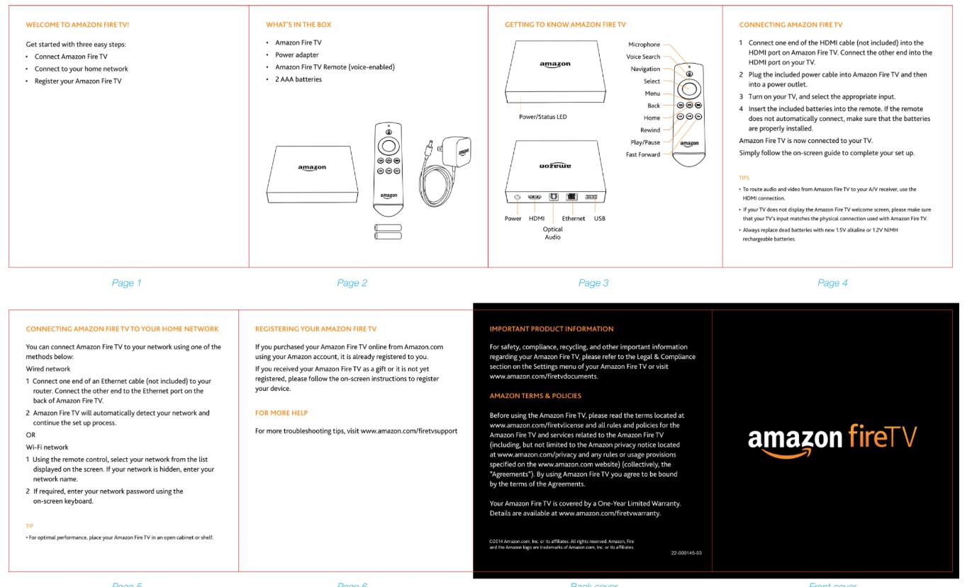 Краткая инструкция для быстрого старта от Amazon fireTV. Полная версия занимает 39 страниц