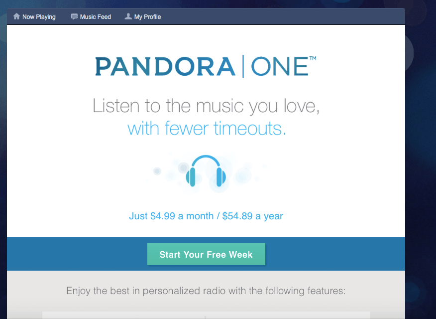 Pandora предлагает платную подписку на свой сервис без рекламы.