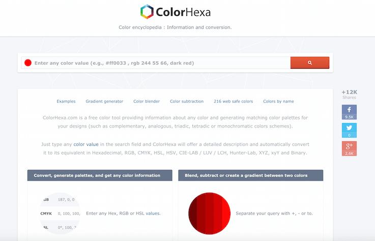 Сайт предоставления информации о любом цвете. Достаточно ввести любые цветовые значения в поле поиска и Color Hex выдаст подробное описание, автоматически преобразовывая в RGB, CMYK, HSL, HSV, CIE-Lab, Хантер-Lab, CIE-Luv, CIE-LCH, XYZ и XYY
