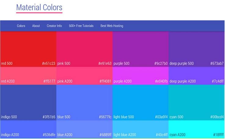 Подборка цветовых образцов из Google's Material Design Guidelines