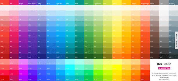 Палитра UI-цветов от Google, включает основные и дополнительные цвета, которые могут быть использованы для иллюстраций или веб-разработки
