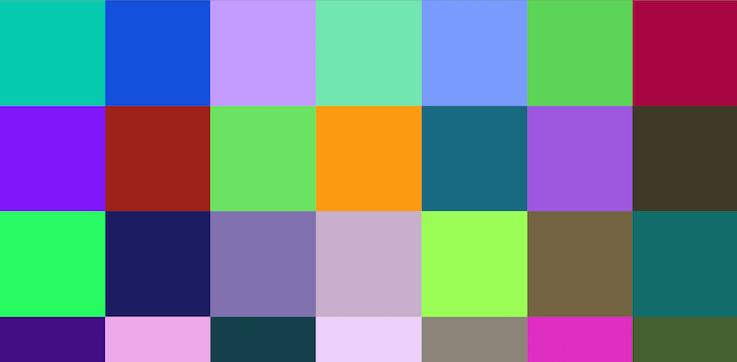 Образцы цвета с номерами для программ